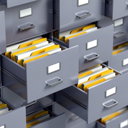 How does the document cabinet help in the management of files